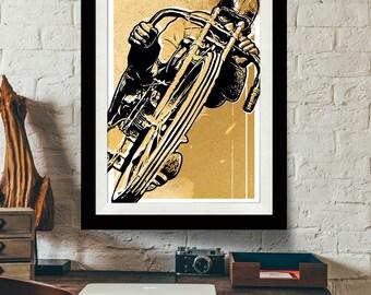Motorcycle Art - Vintage Motorcycle - Motorcycle Decor, Art Print, Man Cave Art, Motorcycle Gift, Garage Art, Motorcycle Poster, Racing art