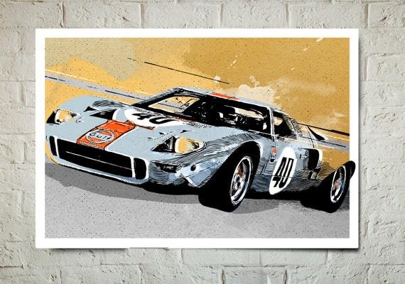 Vintage race car art Etsy