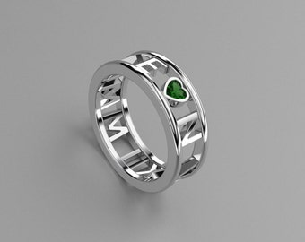 Emerald Heart Roman Numeral Ring in Solid 14k, 18k White Gold and Platinum. Wedding and Anniversaries. Valentine's gift