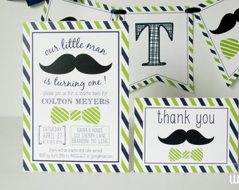 little man birthday party invitation thank you card mustache party personalized printable - Mustache Party Invitations