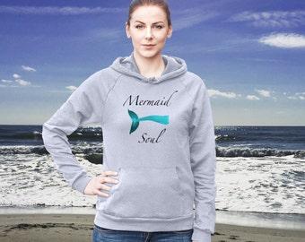Mermaid Soul  Cotton Hoodie Sweatshirt Fleece Summer Beach Style Fashion Boho Chic You Choose Color by Wave of Life™
