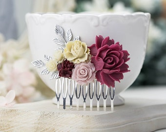 Marsala Wedding Hair Comb Silver Bridal Hair Comb Ivory Dusty Pink Maroon Burgundy Flower Antiqued Gold Leaf Wedding Comb Bridesmaid Gift