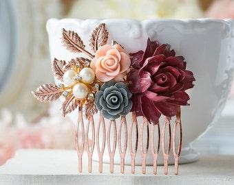 Rose Gold Bridal Hair Comb Maroon Burgundy Dark Red Wedding Hair Comb Red Gray Dusty Pink Flower Pearl Rhinestone Fall Autumn Wedding Comb