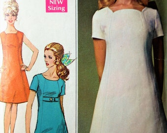 Vintage Simplicity 7717 Sewing Pattern, 1960s Dress Pattern, A Line Dress, Bust 36, 1960s Sewing Pattern, Mod Dress, Shift Dress Shaped Neck