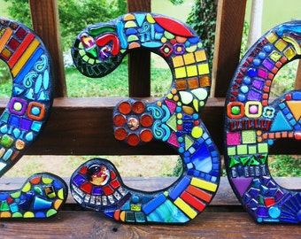 "14"" Tall - CUSTOM Made Mixed Media MOSAIC House Numbers - Order Your 14"" Numbers From This Listing / FREE Shipping on This Size & Larger"