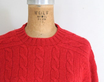 red wool cable knit sweater - red wool crewneck sweater / Wilmington Country Store sweater - 80s preppy sweater / red wool sweater