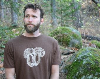 Boletus Mushroom Organic Cotton Screen Printed Dark Brown Men's T shirt