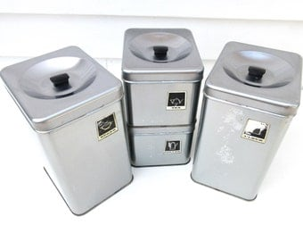 Vintage Kitchen Canisters Set, Stainless Canisters, Chrome Kitchen Storage Boxes, Pantry Storage Silver and Black – As Is