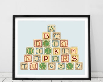 Alphabet - PRINT - Nursery art - Nursery decor - Kids room decor - Children's art - Children's wall art - kids wall art