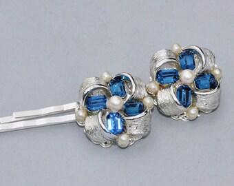 Vintage Sapphire Navy Blue Rhinestone & Pearl Bridal Hair Pins,Vintage Silver Designer Rhinestone Earrings OOAK Bobby Pins,Navy Blue Wedding