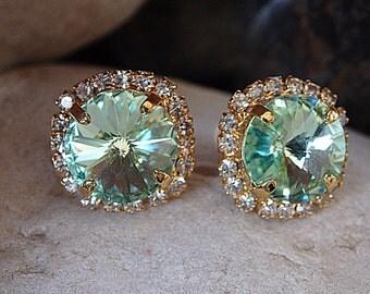 Mint Green Stud Earrings, Swarovski Mint Studs, Crystal Mint Earrings, Bridesmaids Mint Earrings, Bridal Mint Earrings, Bridesmaids Gift