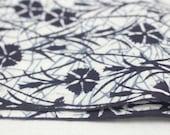 Japanese Artisan Cotton. Vintage Yukata Bolt. Blue Indigo layered Floral. Katazome Batik (Ref: 1603)