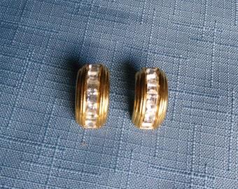 Vintage Earrings Rhinestones Gold Tone Setting Pierced Glam Wedding Jewellery Bridal Party Jewelry Gift Guide Women