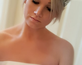 Wedding Head Piece – Bridal Headband with Rhinestones and Tulle in White, Ivory and Off White