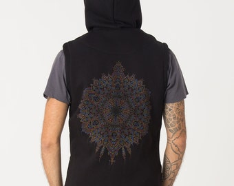 Men's Hood Vest, Black Sleeveless Jacket with hoodie, Cotton Hooded Vest, Mandala Screen Print By SOL