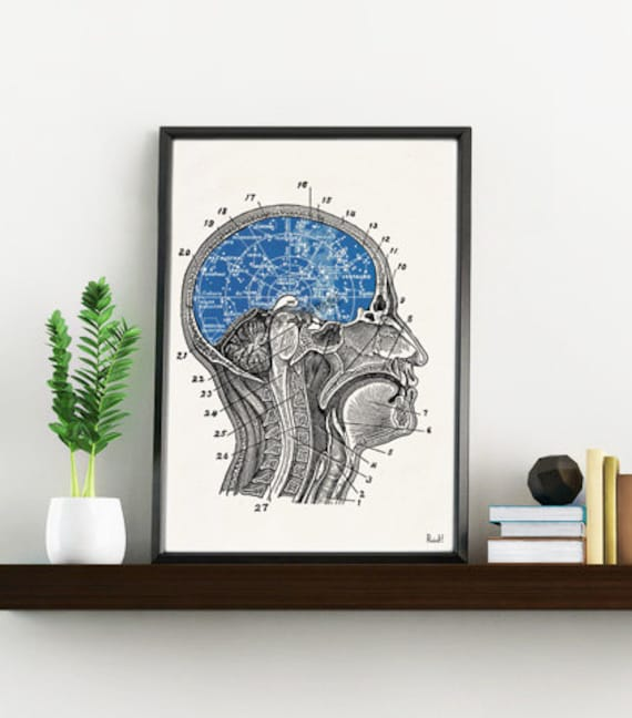 Summer Sale Constellations Brain collage Art and collectibles. Wall decor art, Anatomy prints wall decor Constellation print SKA196WA4