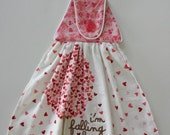 Valentine's Day, I'm Falling For You, Hanging Hand Towel, Kitchen Dish Towel, All Cotton, Plush Towel, Button Towel