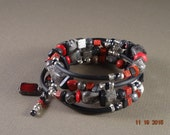 Black, Grey and Red Stone Wrap Bracelet
