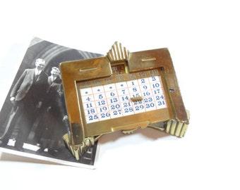Vintage Brass Desk Calendar / Art Deco Office Decor