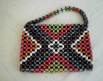 Vintage 1930's Purse Multi Colored Wooden Bead Handbag
