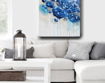 ART PRINTS Large Art Blue Abstract Painting Colorful Modern Blue White Flowers Canvas Giclee Print Home Decor Wall Art Navy Blue- Christine