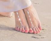 Bridal Barefoot Sandals- Crystal Foot Jewelry- Footless Sandals- Barefoot Wedding Sandals- Beach Wedding- Bridesmaid gift- Boho Wedding Shoe