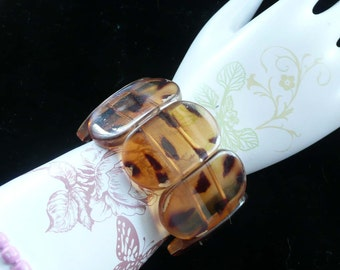 Animal Print Lucite Bracelet Thick & Wide Vintage