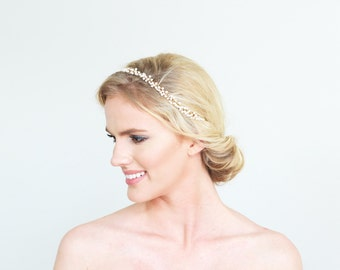 Gold and White Headpiece Tie-on Headband Head Jewelry Minimalistic Beaded Bridal Accessory