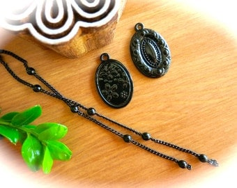 Victorian Halloween Black Metal Oval Pendants & Ball Chain-DIY Gothic Cameo Charm Necklace-3D Flowers and Cameo Designs-Autumn, Fall Fashion