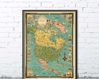 Pictorial map of North America - Wall map giclee  print