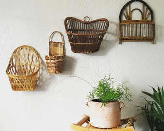 Vintage Rattan Wicker Bamboo Wall Baskets - Multiple Selections