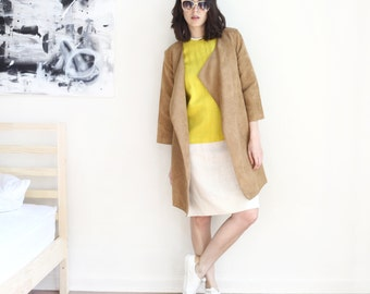yellow ivory color block linen vintage shift dress