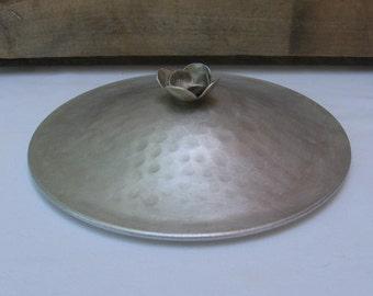 """Decorative Vintage Pot Lid, Hammered Metal, 7 3/8"""" Round Pot Lid, Vintage Kitchen"""