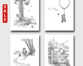 Winnie the Pooh Art (Boys Room Wall Decor, Baby Girl Nursery Prints) Gift Set of 4 SALE