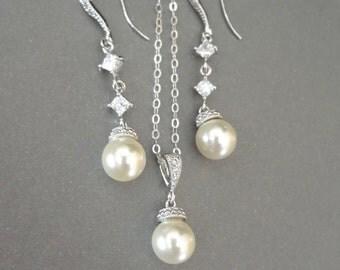Pearl jewelry set - Sterling Silver - Sparkling cubic zirconias ~ Swarovski pearl jewelry set ~ Brides jewelry set ~ Bridesmaids jewelry set