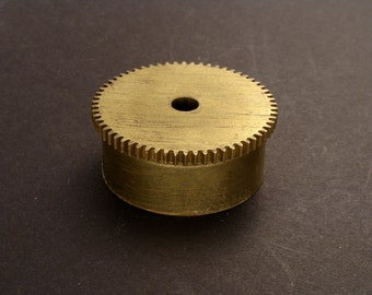 Large Brass Cylinder Gear, Mainspring Barrel from Vintage Clock Movement, Vintage Clockwork Mechanism Parts, Steampunk Art Supplies 03862