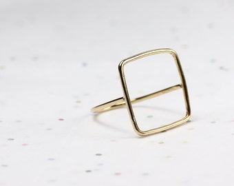 Square Ring - Minimalist Ring - Floating Square Ring - Brass, Sterling Silver - Cage Ring