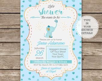 Watercolor Elephant Baby Shower Invitation - Mom to Be Baby Shower Invitation  - Boy Baby Shower - Instant Download & Edit in Adobe Reader