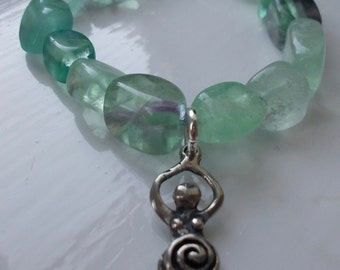 Stretchy gemstone goddess bracelet
