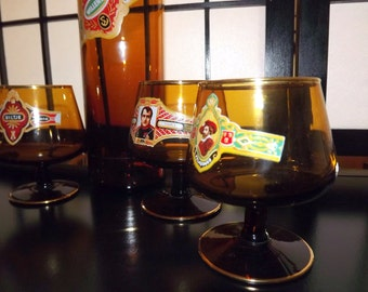 1950s, Cigar theme, snifters and decanter, set, Cigar Band, Amber glass with Gold trim,  Bourbon, Brandy, Cognac, Bar Ware