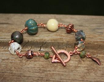 Copper Artisan Wire-Wrapped Bead Bracelet, Lampwork Glass and Ceramic Beads Bracelet, Boho Jewelry, Handmade Jewelry