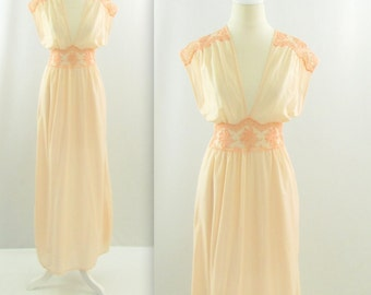 Blush Goddess Nightgown - Vintage 1970s long nightie w/ Plunging Neckline in Small by Cindy Ann