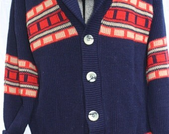 Navy Blue 1960's Cardigan Women's X-Large, Men's Large