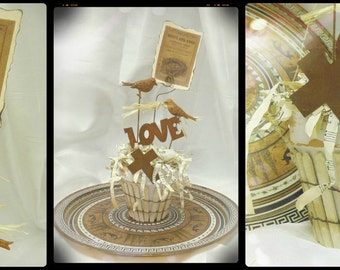 Altered, Repurposed Terra Cotta Pot, Rusty Love Birds, Nests and Eggs, Cross, Music Paper