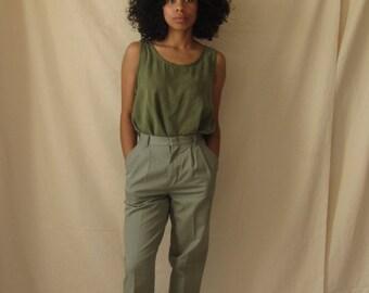 Tencel tank top Vintage sleeveless top 90's minimalist tencel  top