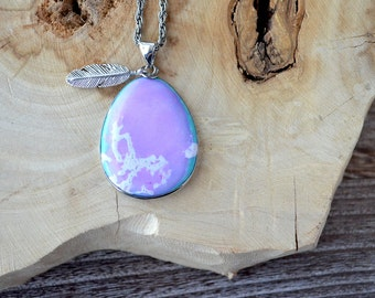 Turquoise and Purple Pendant Feather Necklace