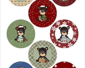 Printable Digital 1.313 inch Christmas Baby Bear Collage Sheet