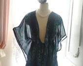 Boho Bohemian Gypsy Chiffon Jacket Kimono Robe Batwing  Beach Sheer  Coverup, Hippie Shabby Chic Blue Baroque Print