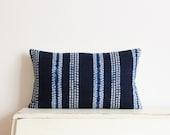 "Indigo stitch resist pillow cushion cover 12"" x 20"""