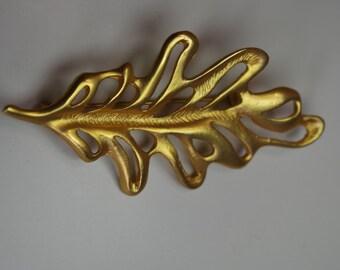 Vintage Leaf Brooch Gold Plated Designer Jewelry Signed